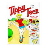 Skateboard Teen Girl Cartoon Postcard