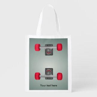 Skateboard Trucks and Wheels Reusable Grocery Bag