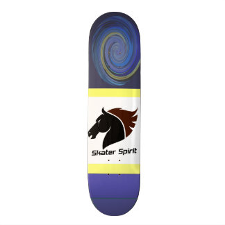 Skateboard with abstarktem blue spiral samples