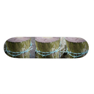 Skateboard with Barbed Wire Fenceposts