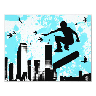 skateboard with birds : cityscape card