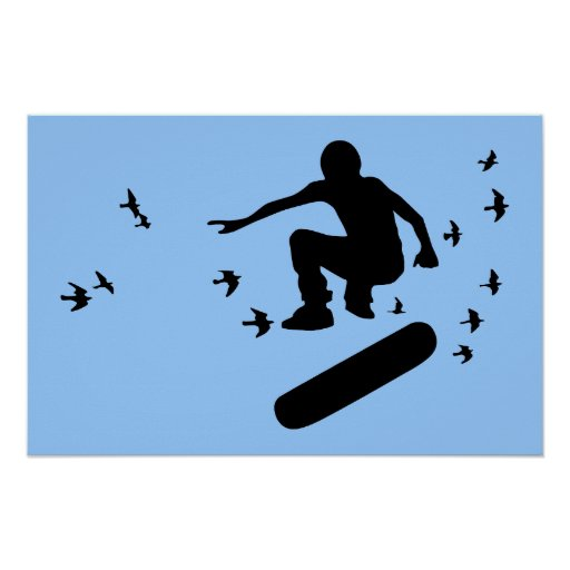 skateboard with birds poster