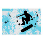 skateboard with birds posters