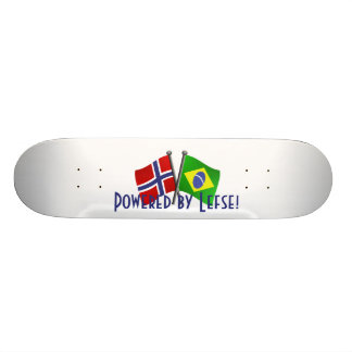 Skateboard with Brazil and Norway Friendship Flags