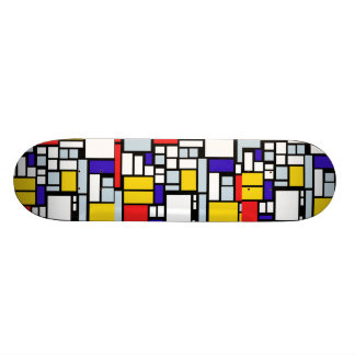 Skateboard with Geometric Design & Primary Colors