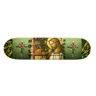Skateboard with Holy Roller Jesus Graphic