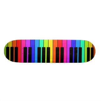 Skateboard With Large Multicolored Keyboard Design