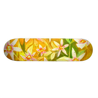 Skateboard with lily watercolour design