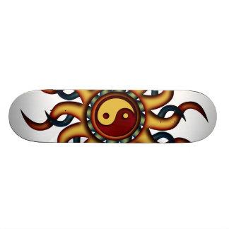 Skateboard, Yin Yang Sun, Navy Blue Maroon Gold Skateboard Deck