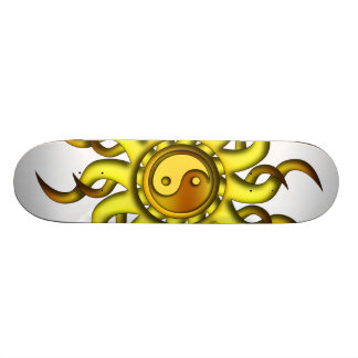 Skateboard, Yin Yang Sun, Yellow Gold Skateboard Deck