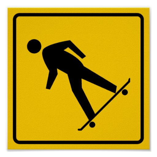 Skateboard Zone Highway Sign Poster