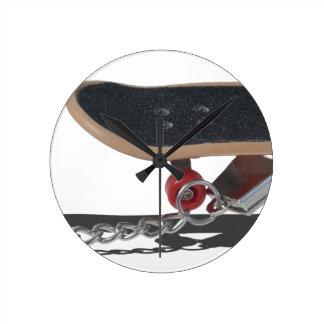 SkateboardAndHandcuffs081914 copy Round Clock