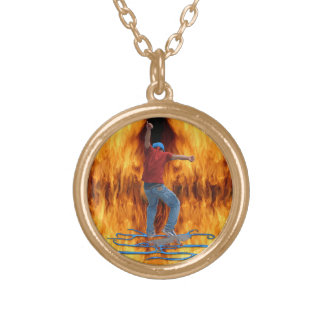 Skateboarder 2 & Flames Action Sports Art Gold Plated Necklace