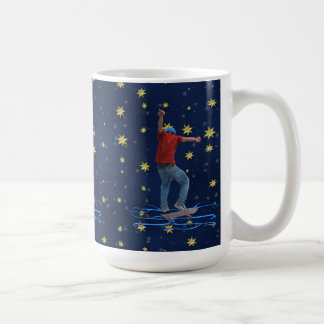 Skateboarder 2 with Blue & Gold Stars Action Art Coffee Mug