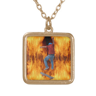 Skateboarder 3 & Flames Street Action Bling Gold Plated Necklace