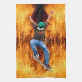 Skateboarder Action Sports Art Hand Towel