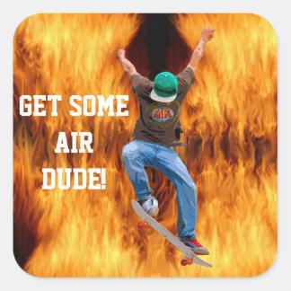 Skateboarder Action Sports Art Square Sticker