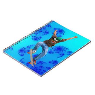 Skateboarder & Blue Fractals Action Sports Art Notebook