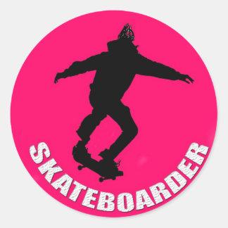 Skateboarder Classic Round Sticker