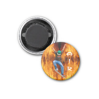 Skateboarder & Flames Action AIR Sports Art Magnet