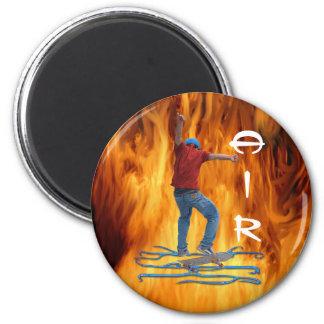 Skateboarder & Flames Action AIR Sports Art Fridge Magnet