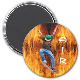 Skateboarder & Flames Action AIR Sports Art Fridge Magnets