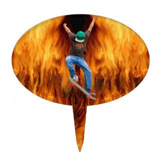 Skateboarder & Flames Action Sports Art Cake Topper