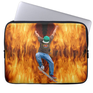 Skateboarder & Flames Action Sports Art Laptop Sleeve