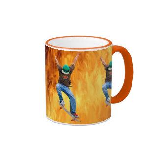 Skateboarder & Flames Action Sports Art Coffee Mugs