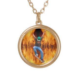 Skateboarder & Flames Action Sports Art Round Pendant Necklace