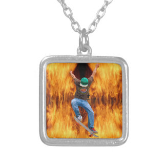 Skateboarder & Flames Action Sports Art Silver Plated Necklace