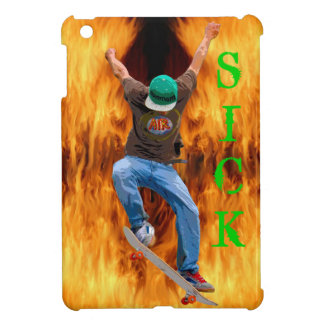 Skateboarder & Flames SICK Action Street Art iPad Mini Case