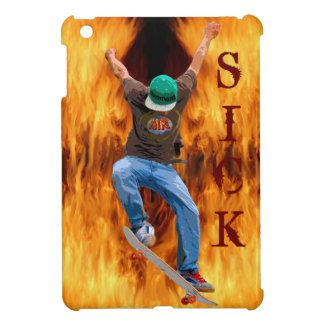 Skateboarder & Flames SICK Action Street Art iPad Mini Covers