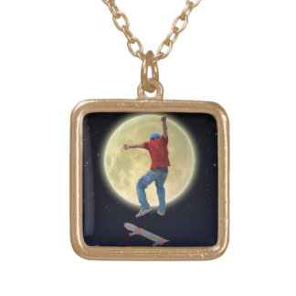 Skateboarder Get Some Air Action Street Kulcha Art Gold Plated Necklace