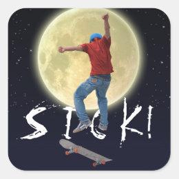 Skateboarder Get Some Air Action Street Kulcha Art Square Sticker