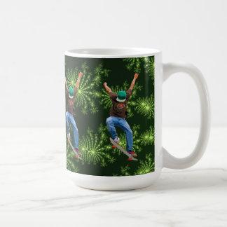 Skateboarder Green Fractals Action Sports Art Coffee Mug