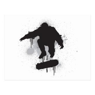 Skateboarder grunge kickflip postcard