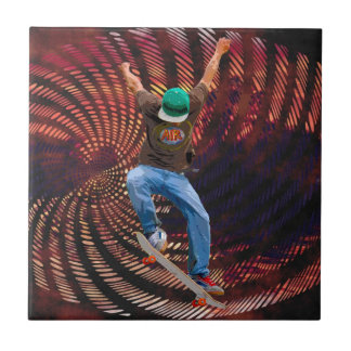 Skateboarder Half-Pipe Action Sports Art Ceramic Tile