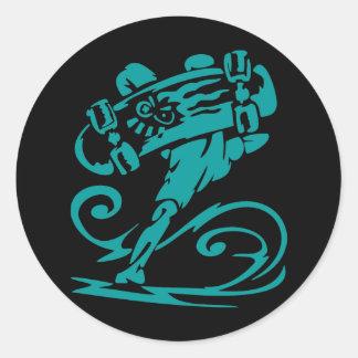 Skateboarder Handstand Classic Round Sticker