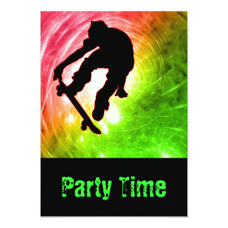 Skateboarder in a Psychedelic Cyclone Party Personalized Invite
