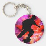 Skateboarder in Cosmic Clouds Keychain