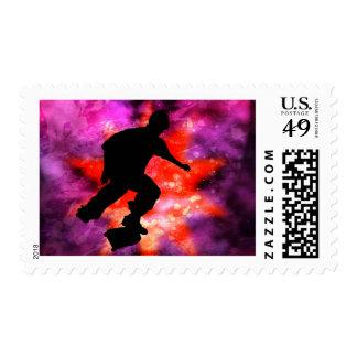 Skateboarder in Cosmic Clouds Postage