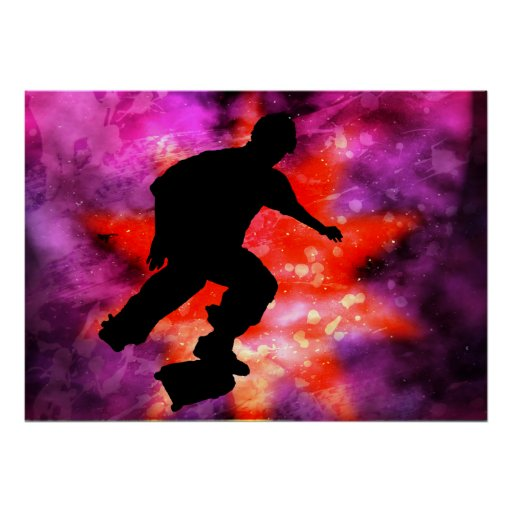 Skateboarder in Cosmic Clouds Poster