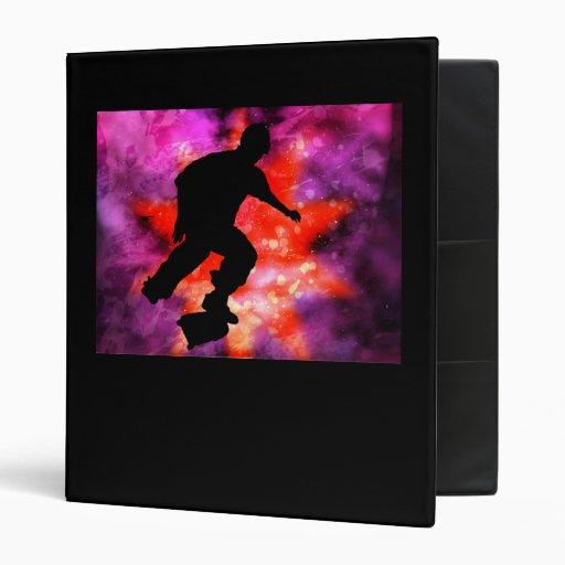 Skateboarder in Cosmic Clouds Vinyl Binders