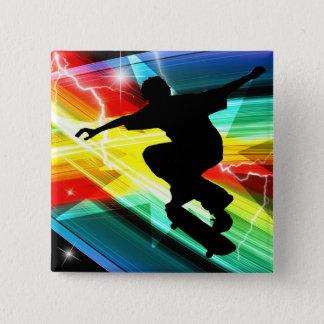 Skateboarder in Criss Cross Lightning Button