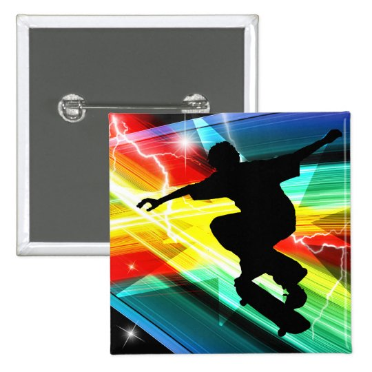 Skateboarder in Criss Cross Lightning Button