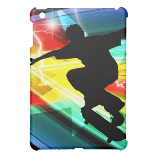 Skateboarder in Criss Cross Lightning Cover For The iPad Mini