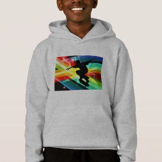 Skateboarder in Criss Cross Lightning Hoodie