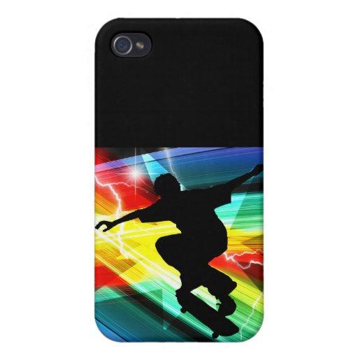 Skateboarder in Criss Cross Lightning Cover For iPhone 4