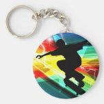 Skateboarder in Criss Cross Lightning Keychain